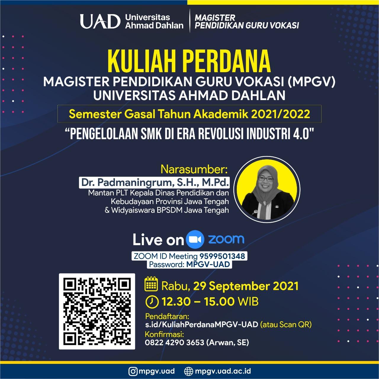 Kuliah Perdana MPGV-UAD Semester Gasal 2021/2021